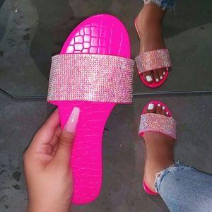 NEW🔥Neon Pink Rhinestone Slides Sandal Flip Flops